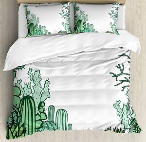 Queen Size Cactus Duvet Cover & 2 Pillow Shams