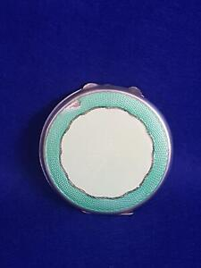 Super H/M B'ham 1919 Sterling Silver w Two Tone Green Guilloche Enamel 65g