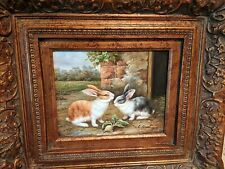 BEAUTIFUL 8 x 10 Oil Painting BUNNY RABBIT C Granet 19 x 21 Baroque MUSEUM FRAME