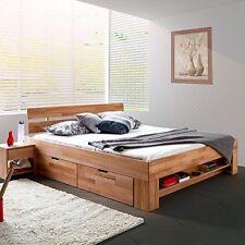 Futonbett Schlafzimmerbett  SOFI 180 cm Kernbuche massiv geölt inkl.4 Bettkästen