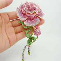 Fashionable Jewelry Rose Bud Gold-tone Pink Rhinestone Crystal Brooch Pin