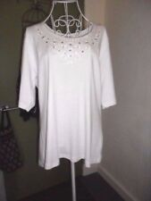 NEW Millers Size 14 Castaway White Embroidered Casual Knit Top with Sequins