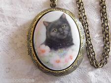#JRK923F Black Cat Lover Kitty Porcelain Cameo Locket Necklace Antique Gold Pill
