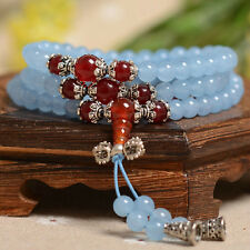 6mm Blue Chalcedony Gem Buddhist Buddha Meditation 108 Prayer Bead Mala Bracelet
