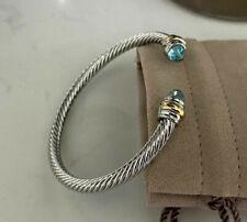 David Yurman Sky Blue Crystal Stone 14K Gold Sterling Silver Cuff Bracelet