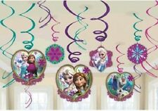Disney Frozen Birthday Party Supplies Swirl Foil Hanging Decoration - Pack of 12