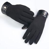 Moderno Hombre cálido de invierno piel sintética guantes Cachemira