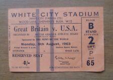 Great Britain v USA, 05/08/1963 - Meeting (White City Stadium) Ticket.
