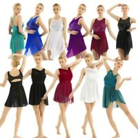 Women Lyrical Illusion Dress Contemporary Ballet Dance Leotard Unitards Costume
