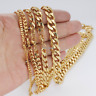 Stainless Steel Bracelet Chain Gold Tone Curb Cuban Link For Mens 3/5/7/9/11mm