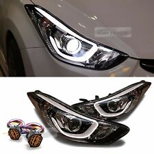 OEM Projection DRL LED Head Light Lamp + Wire LH RH For HYUNDAI 11-16 Elantra