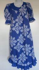 Vintage Carol Bennett Hawaiian Dress purple blue white ruffle muumuu floral Usa