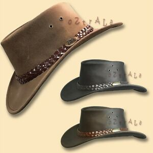 【oZtrALa】Australian OIL LEATHER Hat Outback Men Bush Jacaru Cowboy AUSSIE Fedora