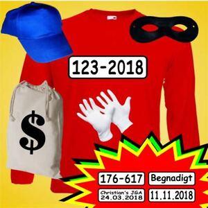 Kostüm für Panzerknacker Fans Langarm Shirt Fasching + Beutebeutel Gruppenkostüm