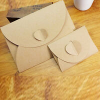 FT- 50pcs/lot Handmade Paper Bag Mini Envelope Heart Kraft Vintage Envelopes Pro