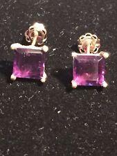 2 Carat Genuine Purple Amethyst 10K Gold Earring Studs lot J252