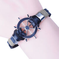 Anchor Brown Leather Cuff Stainless Steel Men Women Wristband Bracelets GM077US