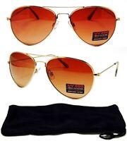 HD Golf Driving Aviator SunGlasses Blue Blocker Amber Lens Gold Frame Glasses