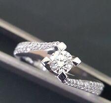 Anello Solitario oro bianco 18 kt diamanti 0,40 ct - promessa Matrimonio