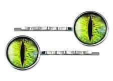 Sci-fi Green Monster Snake Creature Eyeball Silver Glass Hair Clips Barrette Set