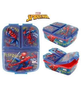 Marvel Spiderman Kids Character 3 Compartment Sandwich Lunch Box Licenced Item
