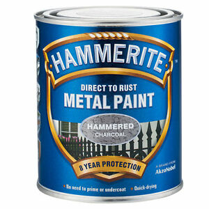 Hammerite Direct To Rust Metal Paint 750ml HAMMERED Charcoal or SMOOTH Charcoal