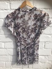 Beautiful M&Co Sheer Chiffon Top, Shirt, Blouse Size 10 Cream Brown Green.