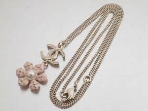 Auth CHANEL CC Logo Necklace Light Pink/Goldtone Faux Pearl/Enamel/Metal e43324