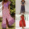 Women Wrap Boho Floral Paisley Maxi Dress Ladies Summer Holiday Beach Sundress