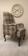 Shabby Chic Country Cottage Small Bedroom Armchair Cream/Brown Tartan