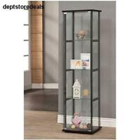Curio Cabinet Black Glass Tower Display Case Beauty Items Pieces Shelves Small