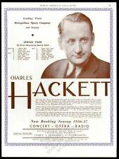 1936 Charles Hackett photo opera recital Usa tour trade booking ad
