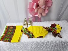 Newborn African Ankara Skirt Set With Bow A Lil HeadWrap For Mom 3Pc Waist 14""