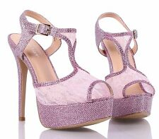 Purple Pink Peep Toe Stiletto Glitter Platform Womens High Heels Shoes Size 9
