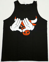 ILLUMINATI Tank Top T-shirt Bulls Mickey Hands Men's Vest Black New