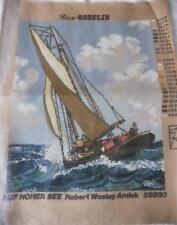 UNUSED VINTAGE RICE GOBELIN PRINTED TAPESTRY CANVAS ON HIGH SEAS SAILING 59280