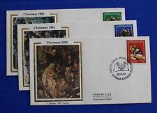 """Canada (973-975) 1982 Christmas - Creche Figures Colorano """"Silk"""" FDC set"""