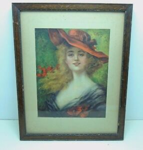 """Vintage Framed EH Kiefer """"Gladys"""" Art Lady Woman Red Hat 1905 Chas Williams NY"""