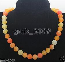 "10mm Orange Yellow Dream Fire Frost Agate Round Gemstone Necklace 18"""