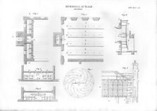 Stampa antica ALLEVAMENTO BACO da SETA attrezzature 1848 Old print
