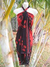 Hawaii Pareo Sarong Black Red Plumeria Cover-up Hawaiian Cruise Beach Luau Dress
