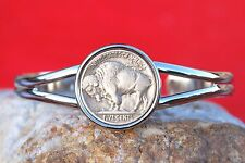 1913-38 Indian Head Buffalo Nickel Coin Silver Plated Cuff Bracelet NEW