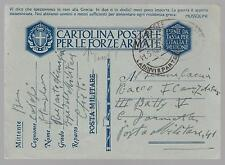 1942 Italy Army Stampless Feldpost postcard  Cover
