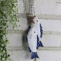 2Pcs Wooden Hanging Fish Coastal Village Handicrafts Nautical Wall Decor Wood