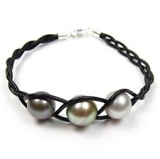 "7.5"" 11-12mm Multi-color Tahitian Pearl Braided Genuine Leather Cord Bracelet"