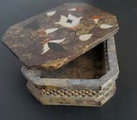 Vintage Soapstone Trinket Box Mother Of Pearl Inlay Floral Pattern Made In India
