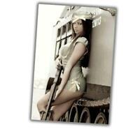"WW2 Photo Vintage Pin-up Classic Retro Girl Sexy Gun Glossy Size ""4 x 6"" P"