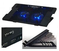 """Laptop Cooler Fan Blue LED Adjustable For upto 17"""" USB + 2 Spare USB Ports"""