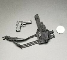 "1:6 Hot Toys M9 Beretta Pistol w/ Black Holster 12"" GI Joe Dragon BBI Dam PMC"