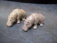 "2 Vintage 1970's  BRITAINS Hard Plastic Hippos Hippopotamus' 2-1/4"""